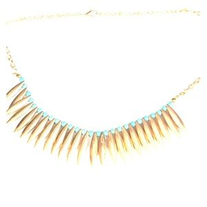 COPPER CHAIN NECKLACE TEAR DROPS TURQUOISE